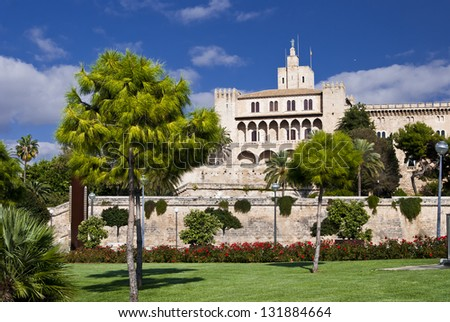 Almudaina castle in Palma de Majorca Balearic islands from Hort del Rei garden