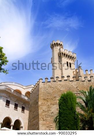 Almudaina palace in Palma de Mallorca from Majorca island from Spain