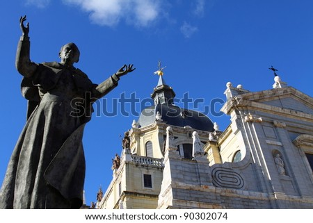 Almudena Cathedral - catholic church in Madrid, Spain. Beautiful religious architecture. - stock photo