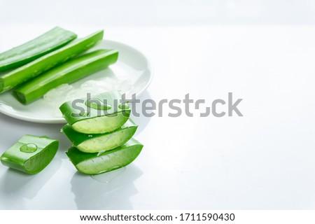 Aloe vera fresh isolated on white background, Slice Aloe Vera.