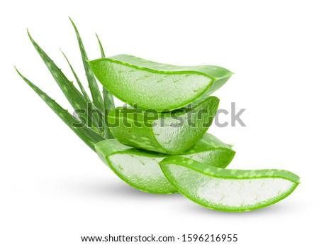 Aloe vera fresh leaves with slices on white background. full depth of field  Stockfoto ©