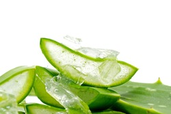 Aloe Vera Slices (Aloe barbadensis Mill.,Star cactus, Aloe, Aloin, Jafferabad or Barbados) fresh leaf isolated on white background, a very useful herbal medicine for skin care and hair care