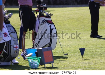 ALOHA GOLF COURSE, MARBELLA, SPAIN - MARCH 14 :  Miguel Angel Jimenez (SPA) at Andalucia Open, Golf European Tour, March 14, 2012, at  Alhoa Golf Club, Marbella, Spain. - stock photo