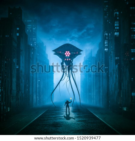 Alone against the invader / 3D illustration of retro science fiction scene with lone astronaut facing giant alien machine in city street