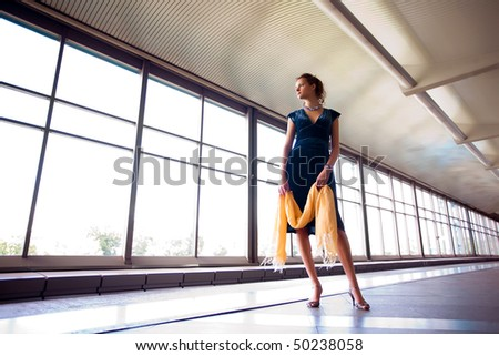 Alone beautiful girl stay on metro platform #50238058