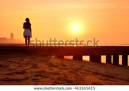 alone beautiful young woman...