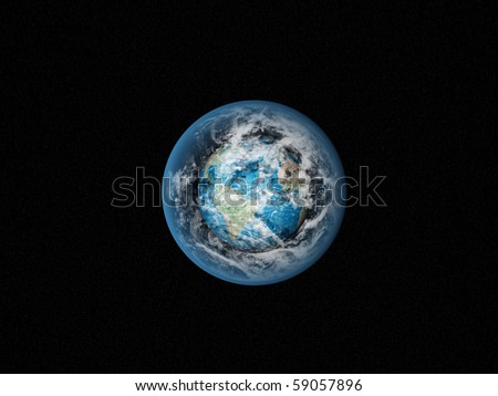 Alone blue Earth in space with clouds - stock photo