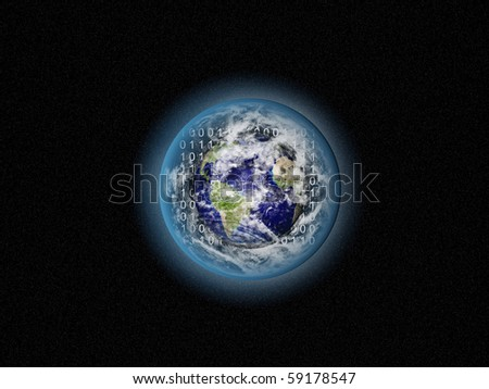Alone blue Earth in space with clouds and binary code on background.