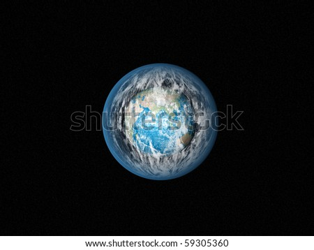 Alone blue Earth in space with strange clouds