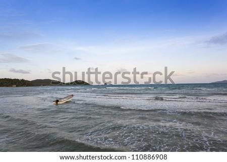 Alone boat in the sea