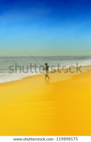 Alone fisherman, fishing at beach. #119898175