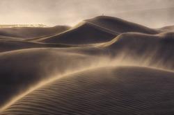 Alone in a windy desert, Death Valley, California