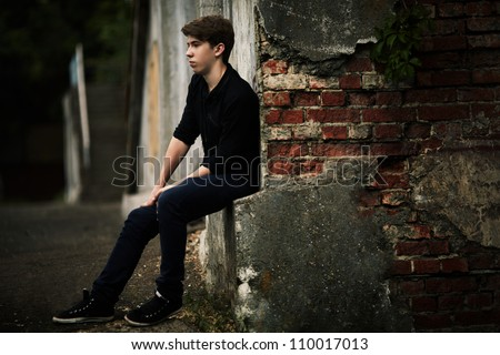 alone man. outdoor portrait