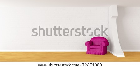 alone purple armchair in modern minimalist interior