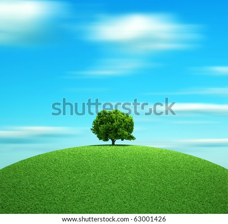 Alone tree on hill - 3d render illustration
