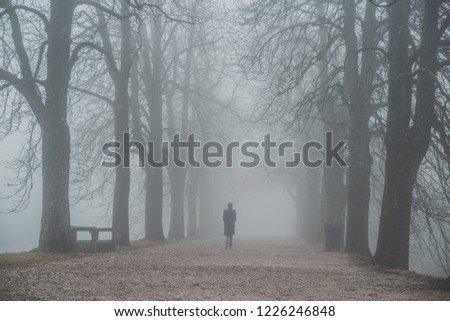 Alone woman walking in misty alley. Depression and loneliness concept photo #1226246848