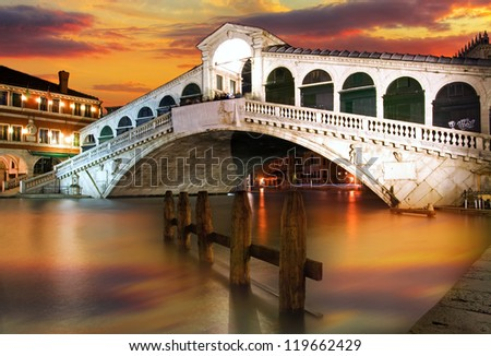 Along Rialto Bridge, Venice at dramatic sunset