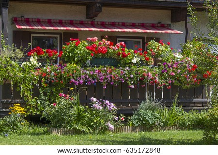 Alp house with a balcony with flower boxes, Tirol, Austria #635172848