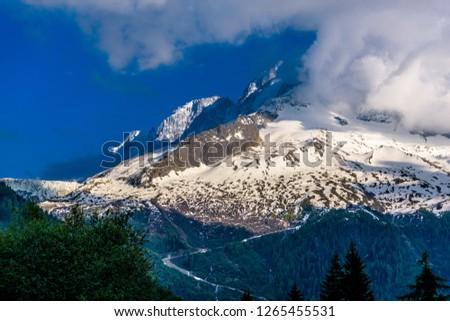 Alp mountain covered with snow, Chamonix Mont Blanc, Haute-Savoie, Auvergne-Rhoene-Alpes, France #1265455531