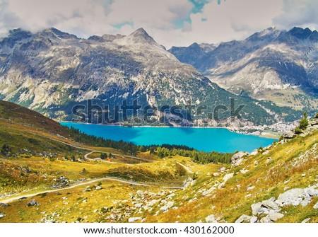 Alp Surlej, mountain and beautiful lake at St.Moritz, Switzerland