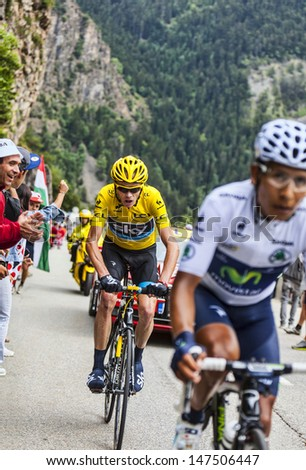 ALPE D'HUEZ, FRANCE, JUL 18:Christopher Froome wearing the Yellow Jersey, following Quintana on the road to Alpe-D'Huez, during the stage 18 of the edition 100 of Le Tour de France on July 18 2013.