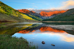Alpenglow at sunset, Piney Lake, Vail, Colorado