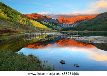 Alpenglow at sunset, Piney Lake, Vail, Colorado