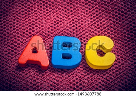 Alphabet  ABC  wooden  letters for early education concept