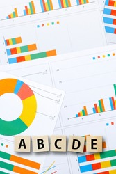 Alphabet ABCDE and colorful data graph