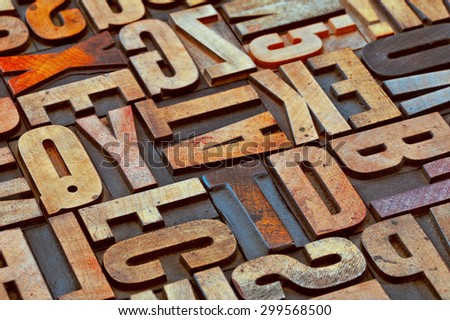 alphabet abstract in vintage letterpress wood type printing blocks stained by color inks Сток-фото ©