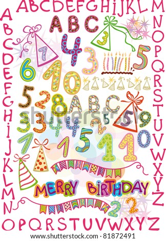 alphabet and numbers in a fun children's style. elements for a children's holiday. raster version.