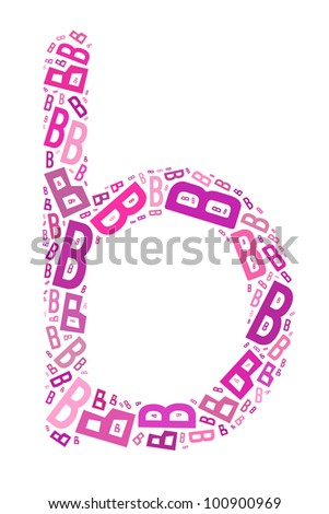 alphabet B in word collage with isolated white background