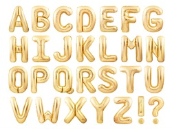 Alphabet balloons font made of golden inflatable balloons isolated on white background. Golden foil balloon letters English font