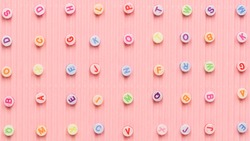 Alphabet beads pattern pink banner