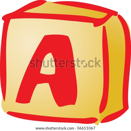 Alphabet block baby item illustration, hand drawn sketch - stock photo