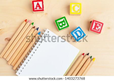 Alphabet blocks ABC on wooden table. #1403273768