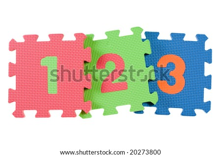Alphabet blocks forming the numbers 123 isolated on white background