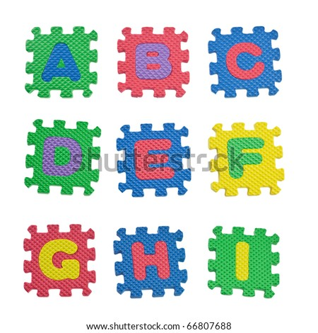 Alphabet blocks from A to I isolated on white background