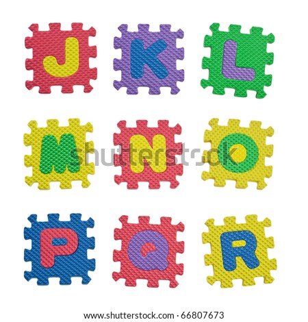 Alphabet blocks from J to R isolated on white background