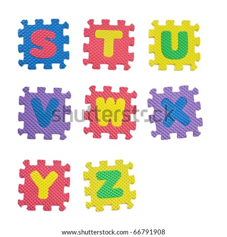 Alphabet blocks from S to Z isolated on white background