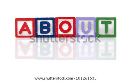 "Alphabet blocks spelling the word ""ABOUT""."