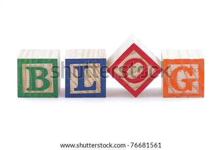 Alphabet blocks spelling the word BLOG with clipping path