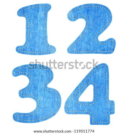 alphabet  blue jean craft stick on white background ( 1 2 3 4 ) - stock photo