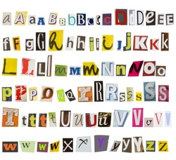alphabet, collection of cut letters from magazines