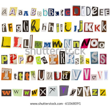 alphabet, collection of cut letters from magazines - stock photo
