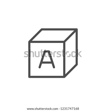 Alphabet cube line icon isolated on white