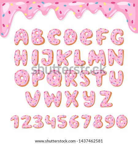 Alphabet donut kids alphabetical doughnuts font ABC with pink letters and glazed numbers with icing or sweet alphabetic typography for happy birthday illustration isolated on white background