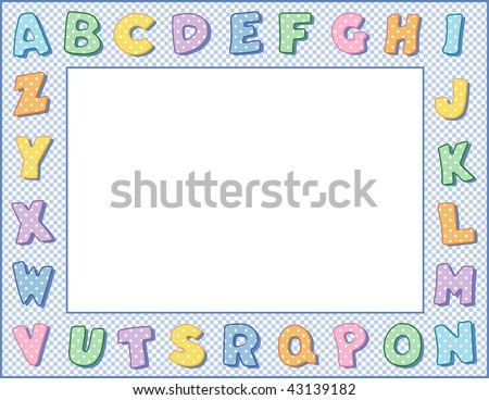 Alphabet Frame, pastel blue gingham check border, copy space for education, kindergarten, nursery school, back to school announcement, posters, fliers, stationery, scrapbooks, albums.