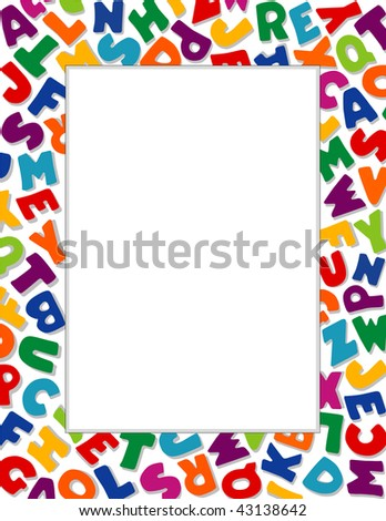 Alphabet Frame White Background Copy Space For Education