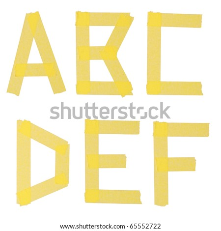 Alphabet from a sticky ribbon. Isolation on a white background